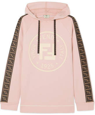 Fendi Oversized Shell-trimmed Printed Cotton-blend Terry Hoodie - Pastel pink