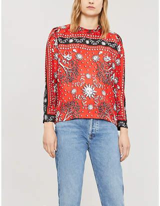 Sandro Ladies Red Conversational-Print Silk-Twill Top