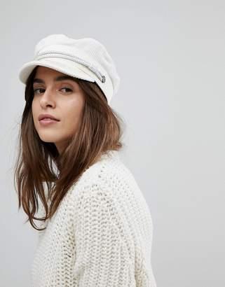Brixton Baker Boy Hat In White Cord
