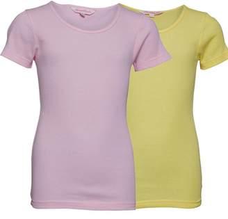 Board Angels Girls Two Pack Rib T-Shirts Pink/Lemon