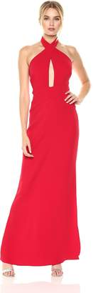 Laundry by Shelli Segal Women's Wrap Neck Halter Gown Cutouts