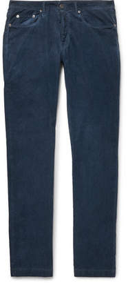 Massimo Alba Slim-fit Watercolour-dyed Cotton-corduroy Trousers - Navy