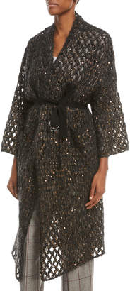 Brunello Cucinelli Mohair & Sequin Netted Duster