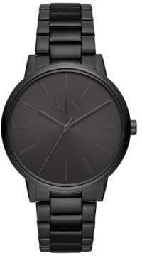 Armani Exchange Cayde Three-Hand Black Stainless Steel Watch