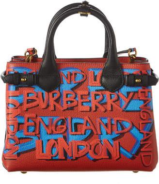 Burberry Small Banner Graffiti Leather Tote