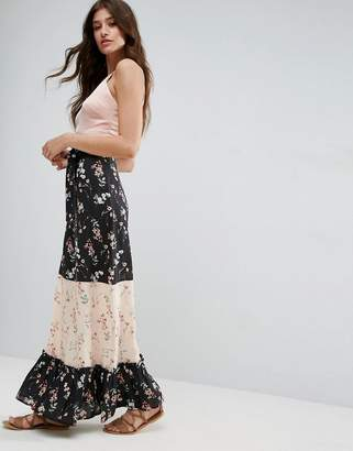 Asos Design Maxi Skirt in Mix and Match Print