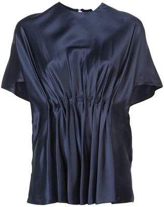 Vionnet round neck pleated blouse