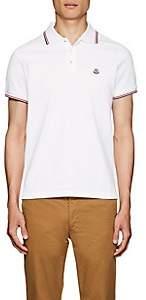 Moncler Men's Striped Cotton Piqué Polo Shirt - White