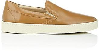 Barneys New York MEN'S CREPE-SOLE LEATHER SLIP-ON SNEAKERS - BROWN SIZE 6 M