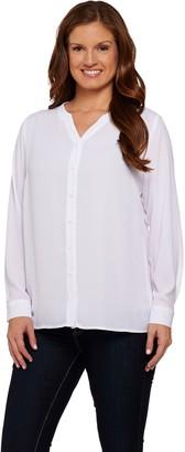 Susan Graver Feather Weave Y-neck Button Front Shirt with Lace Trim