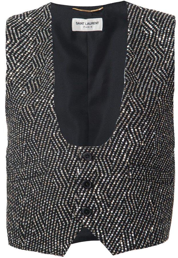 Saint LaurentSaint Laurent embellished metallic waistcoat