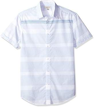 Calvin Klein Jeans Men's Short Sleeve Button Down Shirt Slub Stripe