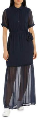 Vero Moda NEW Short Sleeve Maxi Dress KAA Navy