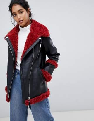 Urban Code Urbancode longline aviator coat with contrast fleece lining