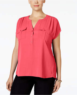 bb952835d3d5a INC International Concepts I.n.c. Plus Size Mixed-Media Utility Shirt