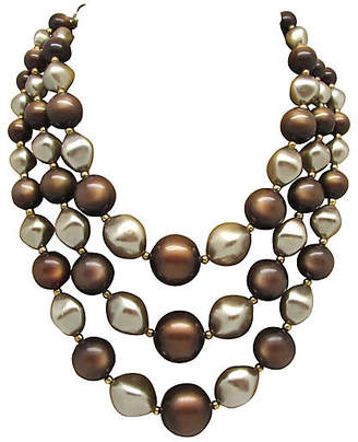 One Kings Lane Vintage Moonglow & Faux-Pearl Bead Necklace