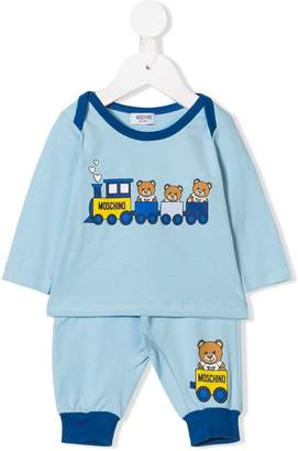 Moschino Kids teddy train T-shirt and trousers set