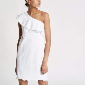 River Island White frill one shoulder denim dress