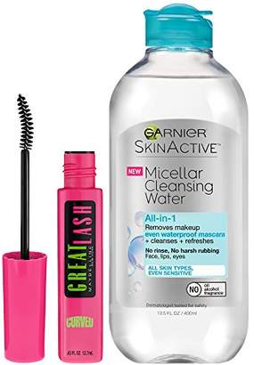 Maybelline Mascara and Garnier SkinActive Micellar Water Makeup Remover