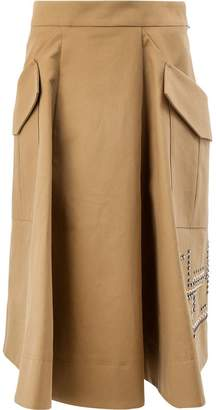 Carven beaded A-line skirt