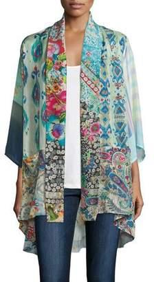 Johnny Was Mixed-Print Tie-Front Silk Kimono
