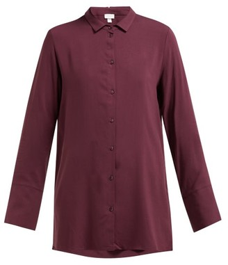 Hanro Longline Buttoned Jersey Shirt - Womens - Dark Purple