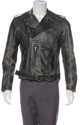 R 13 Distressed Leather Moto Jacket