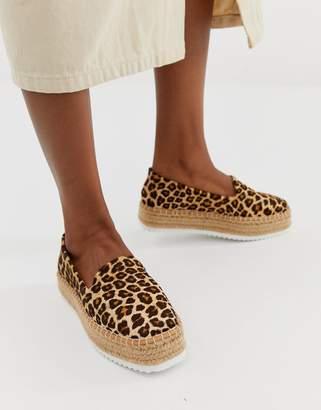 Asos Design DESIGN Jenna leather leopard flatform espadrilles