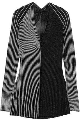 Proenza Schouler Striped Metallic Ribbed-Knit Top