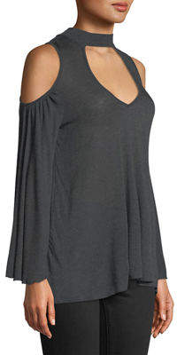 """Three Dots Date Night"""" Cold-Shoulder Top"""