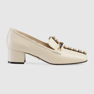 Gucci Leather pump with crystal stripe