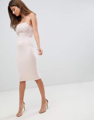 AX Paris bodycon midi dress with lace detail