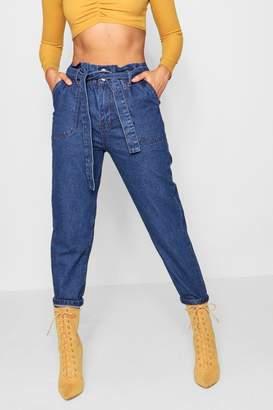 boohoo Paperbag Waist Mom Jeans