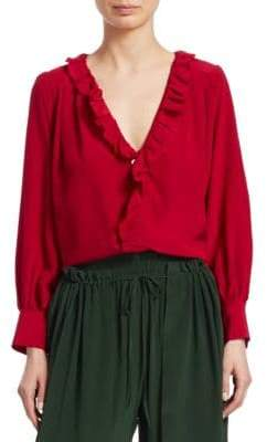 Sea Solange Long-Sleeve Button-Down Ruffle Silk Blouse