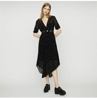 Maje Pleated Dress With Heart Embroidery