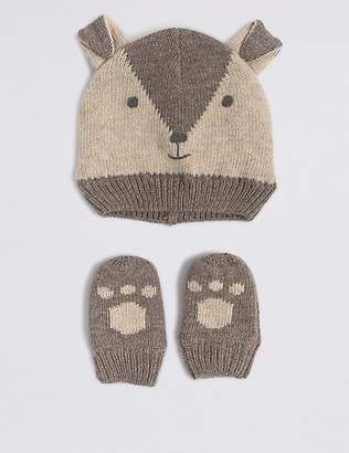 Marks and Spencer Kids' Hat & Mittens Set