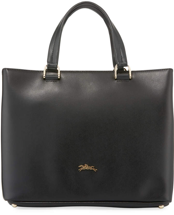 Longchamp Honore Medium Leather Handbag w/Removable Strap - BLACK - STYLE