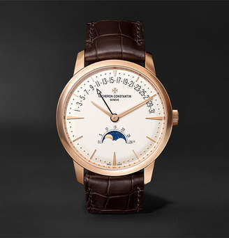 Vacheron Constantin Patrimony Moon Phase And Retrograde Date Automatic 42.5mm 18 Karat Pink Gold And Alligator Watch