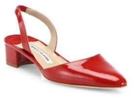 Manolo Blahnik Aspro Patent Leather Block Heel Slingbacks