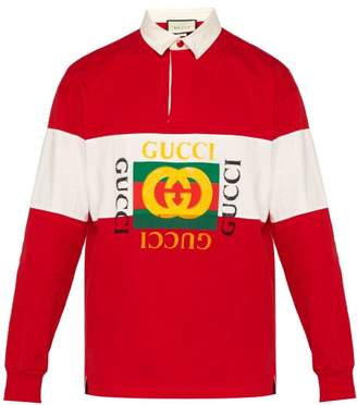 Gucci Fake Logo Cotton Jersey Rugby Shirt - Mens - Red