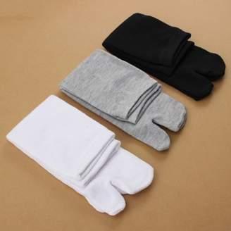 Grtsunsea 3 Pairs/Set Unisex Women Men Japanese Split Toe Socks Kimono Flip Flop Sandal Tabi Ninja Geta Black+White+Grey 3 Color Set