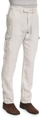 John Varvatos Slim-Fit Linen Cargo Pants, Fossil Gray