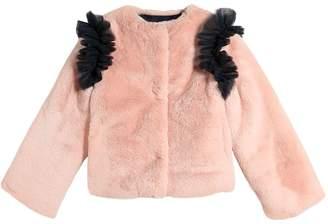 MSGM Faux Fur Jacket W/ Tulle Ruffles