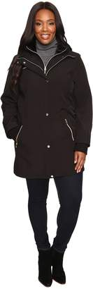 Jessica Simpson Plus Size Softshell with Bib and Faux Fur Collar Women's Coat