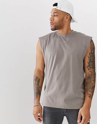 10050fbe2fcd6 BEIGE Asos Design ASOS DESIGN oversized longline sleeveless t-shirt in