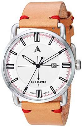 Eleven Paris One Men's SW1 Solar Quartz Stainless Steel and Leather Casual Watch