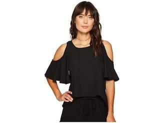 Kensie Luxury Crepe Cold Shoulder Top KS6K4219 Women's Clothing