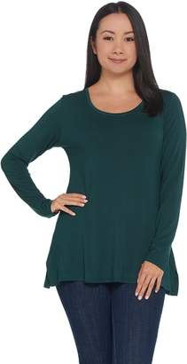 Halston H By H by Essentials Scoop-Neck Long Sleeve Tunic w/ Side Slits