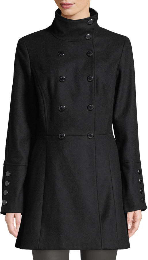 Iconic American Designer Double-Breasted Fit & Flare Peacoat