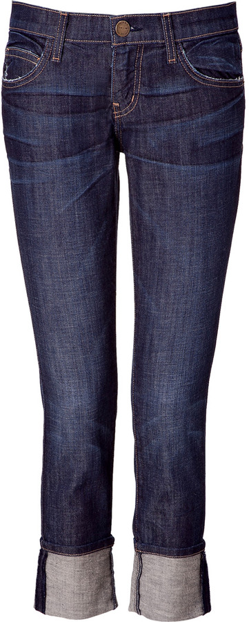 Current/Elliott 3/4-Length Dark Blue Boyfriend Jeans